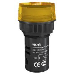 Арматура светосигнальная DEKraft 25067DEK Лампа коммутационная ADDS 22 мм LED желтый 24В AC/DC ЛK-22