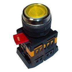 Арматура светосигнальная IEK ABLF-22 (жёлтая) неон кнопка 1з+1р d22mm 240B