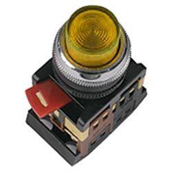 Арматура светосигнальная IEK ABLFS-22 (жёлтая) неон кнопка плоская 1з+1р 230В