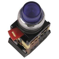 Арматура светосигнальная IEK ABLFS-22 (синяя) неон кнопка плоская 1з+1р 230В