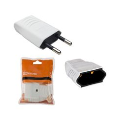 Вилка TDM без заземляющих контактов, белая 10А 250В (евровилка CEE 7/16) прямой вывод проводника