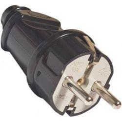Вилка TDM прямая с заземляющими контактами, черная 16А 250В