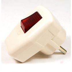 Вилка TDM угловая с выключателем, с заземляющими контактами, белая 16А 250В
