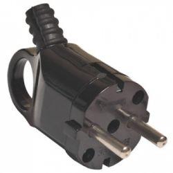 Вилка TDM угловая с ушком с заземляющими контактами, черная 16А 250В