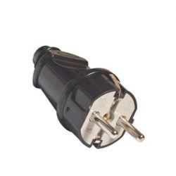Вилка UNIVersal прямая с заземляющими контактами, чёрная 16А 250В А1010