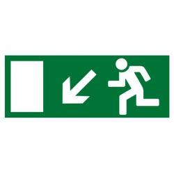"""Знак TDM """"Направление к эвакуационному выходу налево вниз"""" 350х124мм для ССА (лист - 2шт)"""