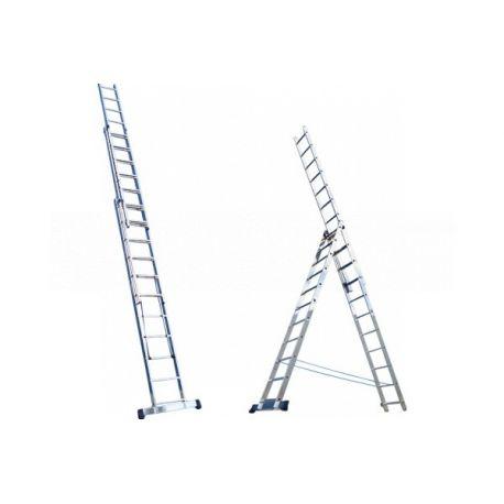 Лестница 3-секционная алюмюминиевая 3*14ст усиленная 395/701/1011, Алюмет HS3 6314