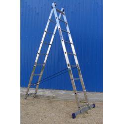 Лестница Алюмет 5209 2-секционная 2* 9 ступеней 252/420 алюминиевая