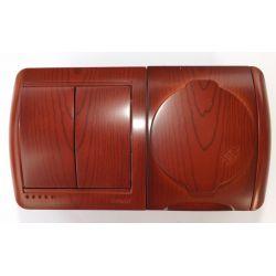 Блок комбинированный Lezard Nata выключатель 2-клавишный и розетка с заземляющими контактами с крышкой вишня горизонтальный 710-