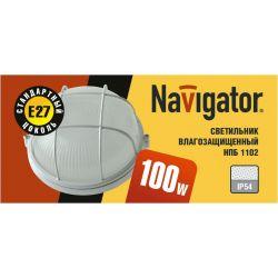 Светильник Navigator NBL-R2-100-E27 белый круглый с решеткой 94 807