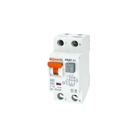 Дифференциальный автомат 2П 16А 30мА TDM АВДТ-32 характеристика С