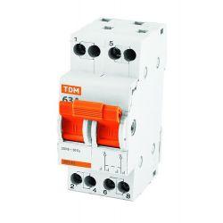 Выключатель нагрузки 2П 40А TDM МП-63 Модульный переключатель трехпозиционный